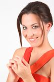 Portrait of beauty girl in red dress Royalty Free Stock Images