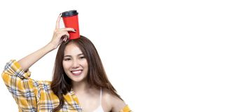 Portrait of beauty happy young asian girl hold coffee cup with copy space stock photography