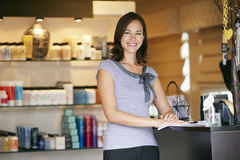 Portrait Beauty Product Shop Manager Royalty Free Stock Photo