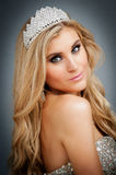 Portrait of Beauty Queen Wearing Tiara. Royalty Free Stock Photo