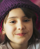 Portrait of beauty school aged brunette kid girl with black eyes indoor Royalty Free Stock Photography