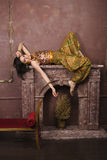 Portrait of beauty sensual young woman in oriental style in luxury room Royalty Free Stock Photos