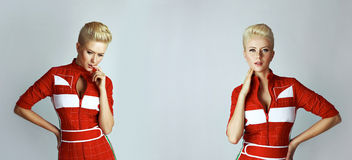 Portrait beauty sexy blond woman in red dress perfect Royalty Free Stock Photos