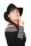 Portrait of beauty woman in black hat Royalty Free Stock Photo