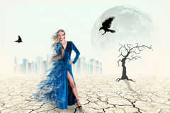 Portrait of a beauty woman in blue dress Royalty Free Stock Image