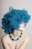 Portrait of beauty woman in a blue wig Royalty Free Stock Photo