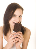 Portrait of beauty woman with chocolate Royalty Free Stock Photo