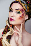 Portrait of beauty woman with face art Royalty Free Stock Photo