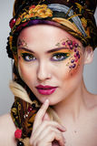 Portrait of beauty woman with face art. Close up portrait of beauty woman with face art Royalty Free Stock Photos