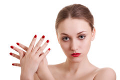 Portrait beauty woman with red bright manicure Stock Photos