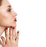Portrait of beauty woman with red bright manicure Royalty Free Stock Photos