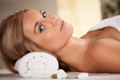 Portrait of beauty woman in spa room Stock Photo