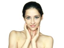 Portrait of beauty woman touching face Royalty Free Stock Photography