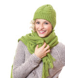 Portrait of a beauty woman wearing warm sweater Royalty Free Stock Photos