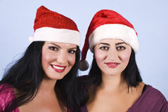 Portrait of beauty women with santa hat Stock Image