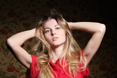 Portrait of the beauty young blond girl Stock Photos