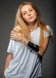 Portrait of the beauty young blond woman Royalty Free Stock Image