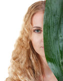 Portrait of the beauty young blond woman with green leaf Royalty Free Stock Image