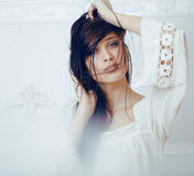 Portrait of beauty young woman with hair on face Royalty Free Stock Photo