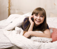 Portrait of beauty young woman in her room Royalty Free Stock Photos
