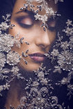 Portrait of beauty young woman through lace Royalty Free Stock Photography