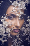 Portrait of beauty young woman through lace Royalty Free Stock Image