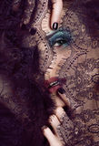 Portrait of beauty young woman through lace close Royalty Free Stock Image