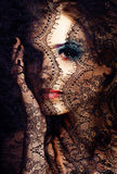 Portrait of beauty young woman through lace close up mistery mak Royalty Free Stock Photography