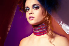 Portrait of beautyful woman with colorful makeup Stock Photos