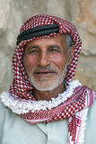 A portrait of a Bedouin man wearing traditional headware in Jordan. Royalty Free Stock Photos