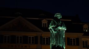 Portrait of a Beethoven statue at night royalty free stock photography