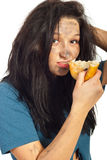 Portrait of beggar girl eat bread Stock Photos