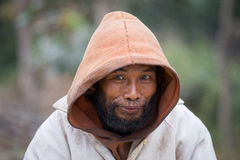 Portrait beggar man in Myanmar. Close up Stock Photos