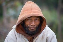 Portrait beggar man on the street. Myanmar, Burma Royalty Free Stock Images