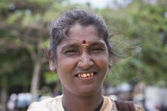 Portrait beggar woman on a street. Sri Lanka. Close up Stock Images
