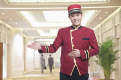 Portrait of Bellhop, Greeting Royalty Free Stock Photography