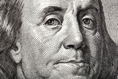 Portrait of Ben Franklin on the US 100 dollar bill in macro for your unique project. Portrait of Ben Franklin on the US 100 dollar bill in macro royalty free stock photos