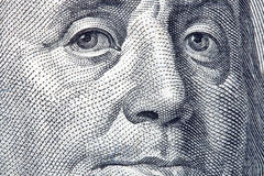Portrait of Benjamin Franklin. Close-up from one hundred dollars bill Stock Photography