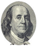Portrait of Benjamin Franklin. Portrait of U.S. statesman, inventor, and diplomat Benjamin Franklin as he looks on one hundred dollar bill obverse. Clipping path Stock Images