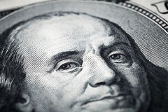 Portrait of Benjamin Franklin close-up shots in macro lens from. One hundred dollars banknote Stock Photos