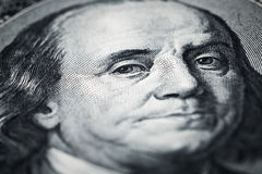 Portrait of Benjamin Franklin close-up shots in macro lens from. One hundred dollars banknote Royalty Free Stock Photo