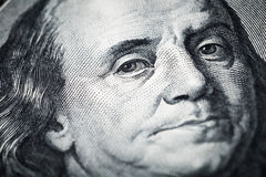 Portrait of Benjamin Franklin close-up shots in macro lens from. One hundred dollars banknote Royalty Free Stock Image