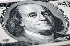 Portrait of Benjamin Franklin close-up shots in macro lens from. One hundred dollars banknote Stock Image