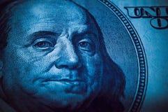Portrait of Benjamin Franklin from 100 dollars bill.  stock images