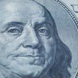 Portrait of Benjamin Franklin from 100 dollars bill.  stock photography