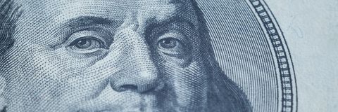 Portrait of Benjamin Franklin from 100 dollars bill.  royalty free stock photography