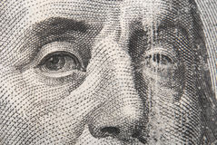 Portrait of Benjamin Franklin. Fragment of one hundred dollars bill with face of Benjamin Franklin close-up royalty free stock images
