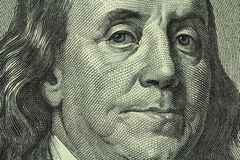 Portrait of Benjamin Franklin on the hundred dollar bill. Closeup Stock Photo