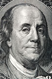 Portrait of Benjamin Franklin on the hundred dollar bill. Macro photo Stock Images
