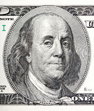 Portrait of Benjamin Franklin macro from 100 dollars bill Stock Photo